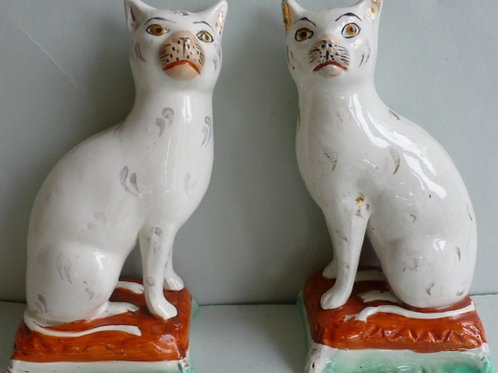 PAIR LATE 19THC. STAFFORDSHIRE CATS