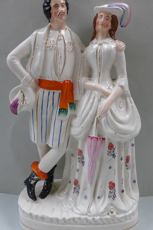 VERY LARGE 19TH CENTURY STAFFORDSHIRE FIGURE OF A LADY AND GENTLEMAN