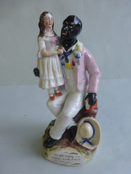 19thc. Staffordshire Figure of Uncle Tom & Eva Thomas Parr c.1850 - Ref # 4484