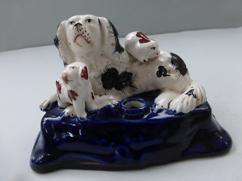 Unusual 19thc. Staffordshire Dog Inkwell Ref. 3710