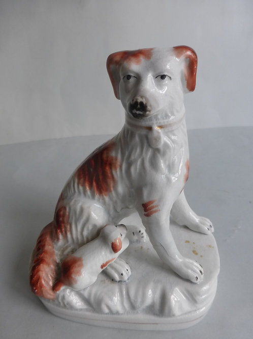 Single 19thc. Staffordshire Dog & Puppy group c.1850 Ref # 4429