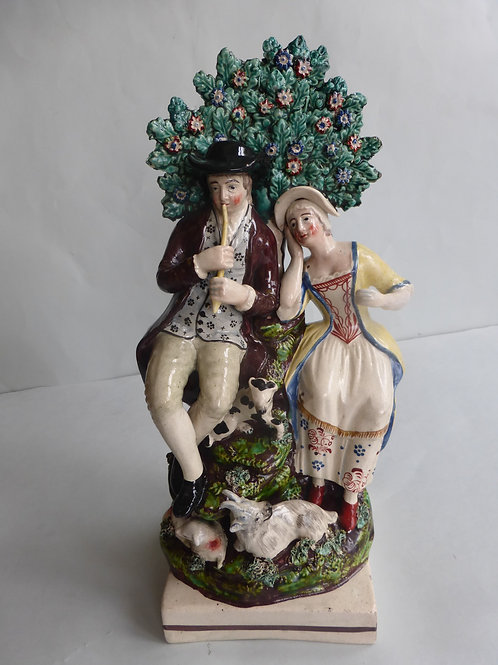Early 19thc. Pearlware Staffordshire of Musician/Shepherd c.1820 Ref # 4356