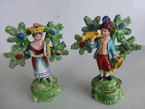 Pair 19thc. Staffordshire figures of SHOWMAN & SHOWWOMAN rEF. # 4152