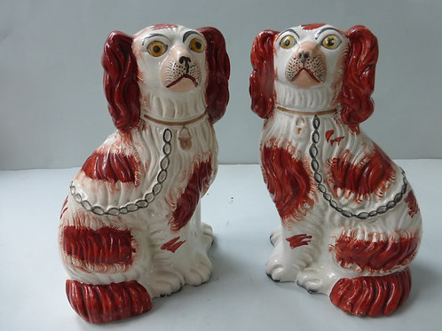 PAIR 19THC. STAFFORDSHIRE RED AND WHITE DOGS