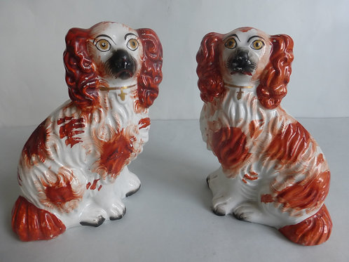 Unusual pair 19thc. Staffordshire Red/White dogs Size 4 Ref # 4427