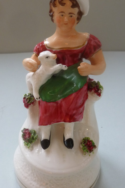 19THC PORCELLANOUS STAFFORDSHIRE GIRL AND LAMB