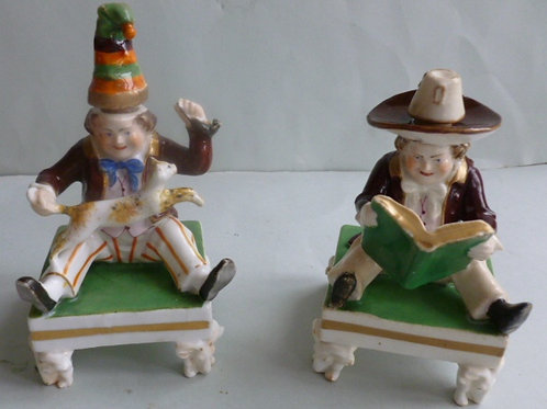 PAIR 19THC. STAFFORDSHIRE INKWELLS WITH CAT/MOUSE