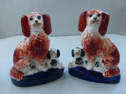 Pair 19thc. Staffordshire Spaniel & Puppy Groups Ref # 4324