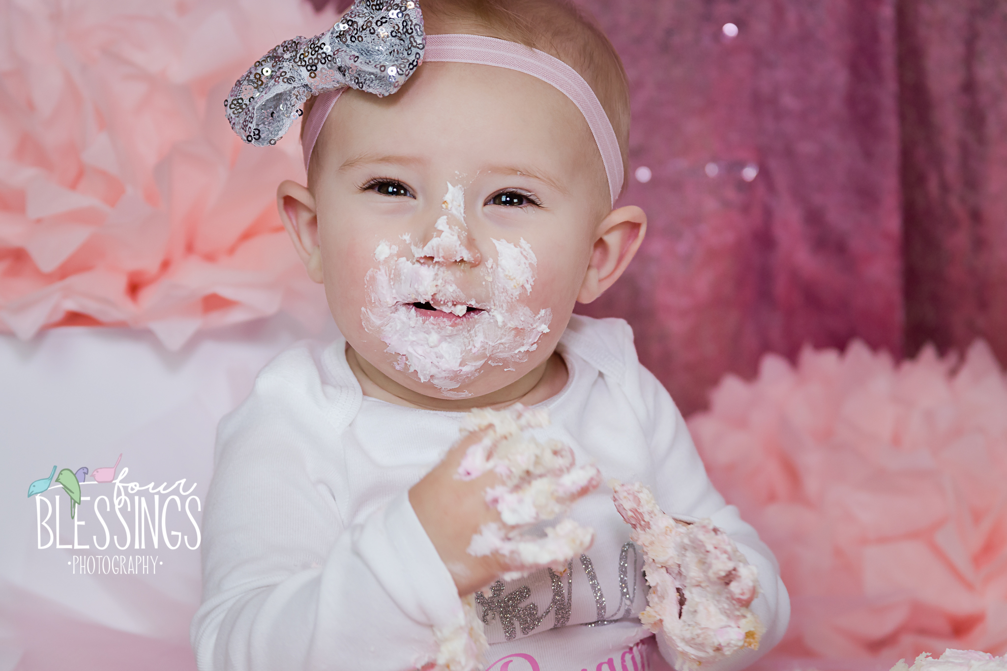 baby eating cake