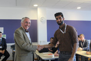 Prof Kirby with Jay Singh at West Midlands Suturing Competition