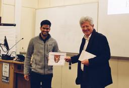 Prof Thomas with Taran Chaundhuri - Pre-Clinical Winner of Case Presentation 2018