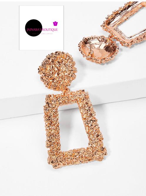 06616691b Rectangle Textured Drop Earrings- Rose Gold