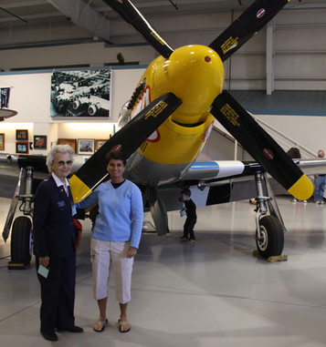 With World War II Women Airforce Service Pilot ace Geri Nyman and her beloved P-51 Mustang.