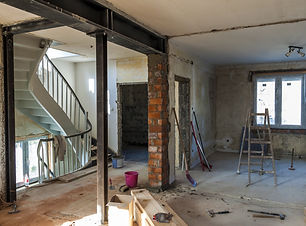 Interior of a house under construction.