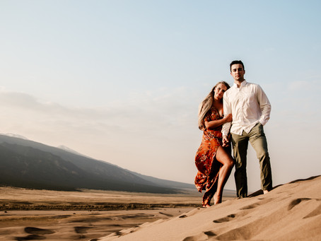 Engagement photos at the Great Sand Dunes, CO