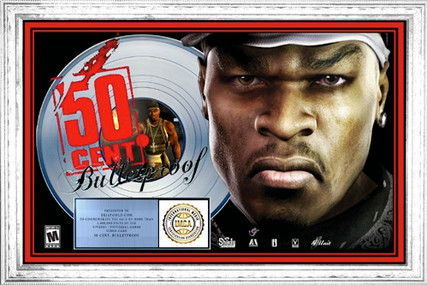 50 Cent 16 x 24 Bullet Proof - I.M.C.A. Platinum Plaque Award