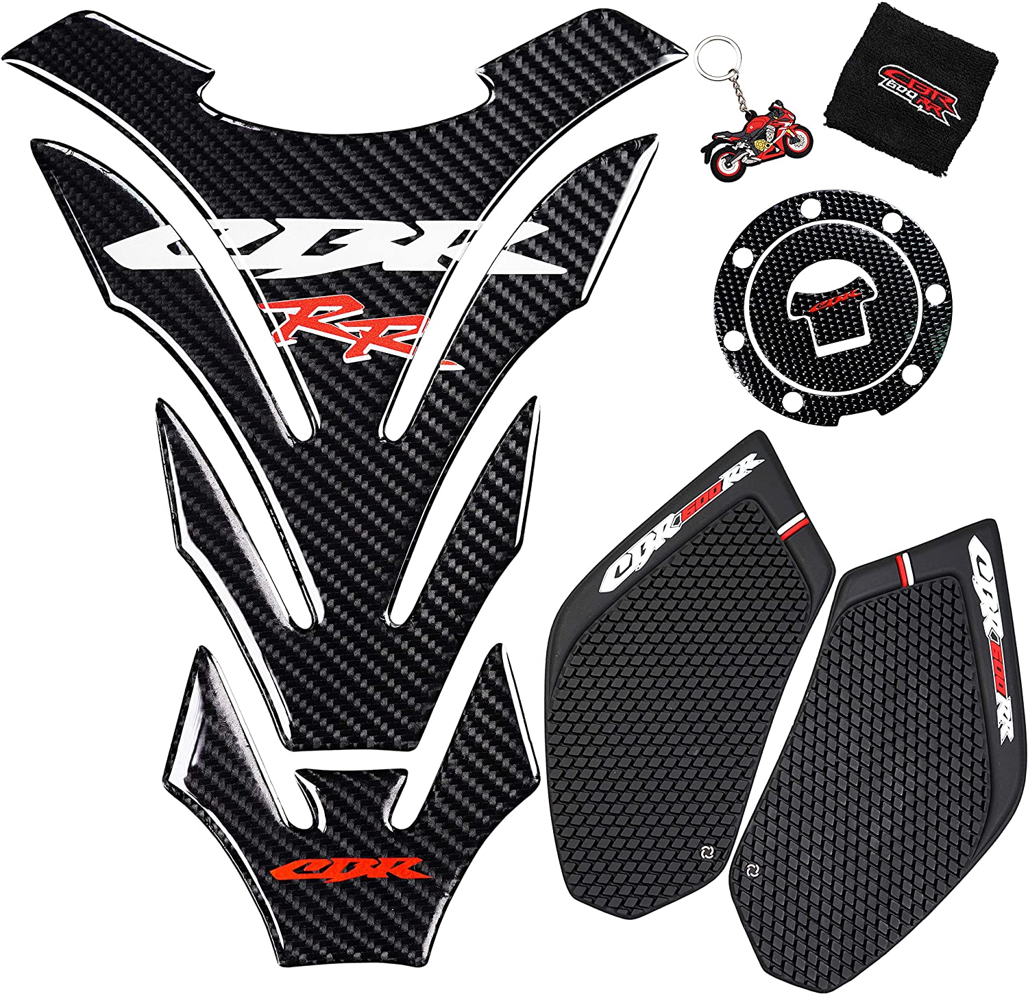 REVSOSTAR Real Carbon Look, Protector Pad, Tank Pad Decal Stickers, Tank Side Traction Pad, Fuel Gas