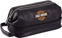Harley Davidson Leather Toiletry Kit, Bl