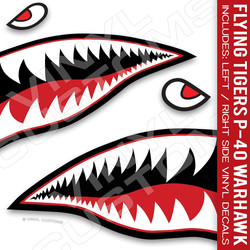 "Flying Tiger Decal Shark Teeth Decal P-40 Warhawk (24"" inches - 1 Pair)"