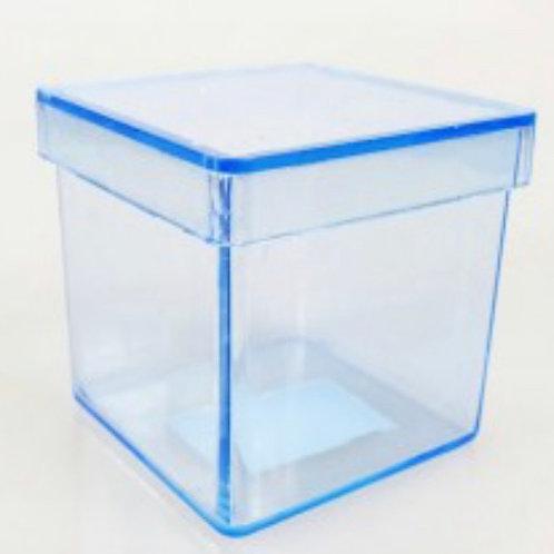 10unds Caixinha De Acrílico 5x5 P/ Lembrança azul