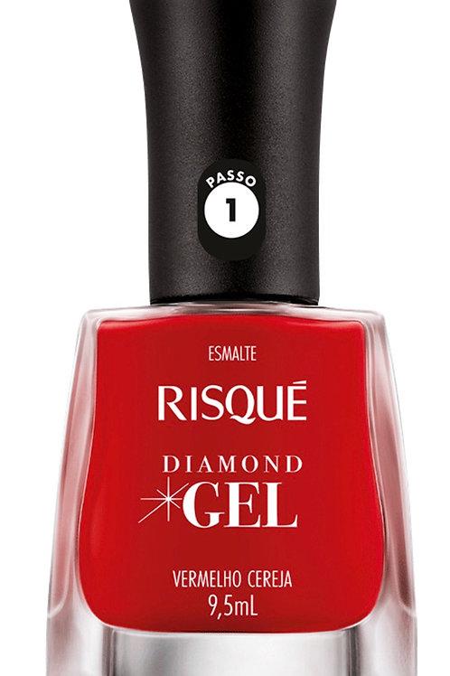 1 Esmalte Risqué Diamond Gel Vermelho Cereja