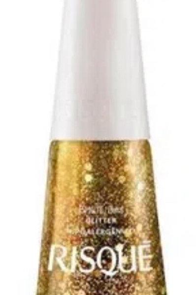 1 Esmalte Risqué Cor Disco D'Ouro Glitter com 8ml