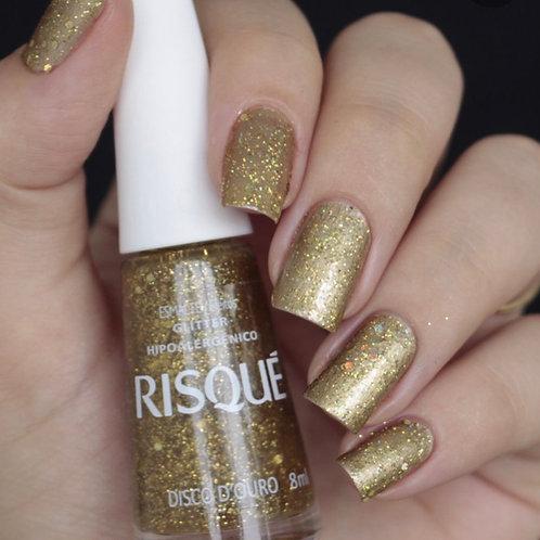 1 Esmalte Risqué Glitter Disco D`Ouro de 8ml