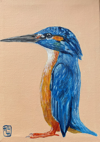 The King (Fisher) 5x7 Acrylic on Canvas, HLH Art