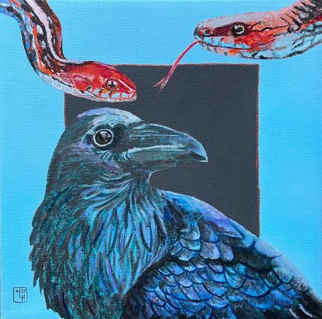 Bird N Snakes 12x12 Acylic on Canvas, HLH Art