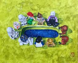 Lego of Your Loved Ones 8x10 Acrylic on Acrylic Panel, HLH Art