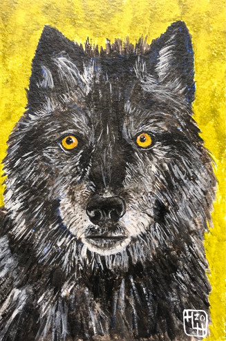 Lone Wolf 4x6 Acrylic on 140# Cold Press, HLH Art