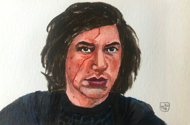 For the Love of Kylo 4x6 Acrylic on 140# Cold Press Paper, HLH Art