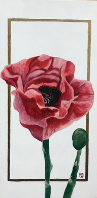 Poppy 2 10x20 Acrylic on Canvas HLH Art