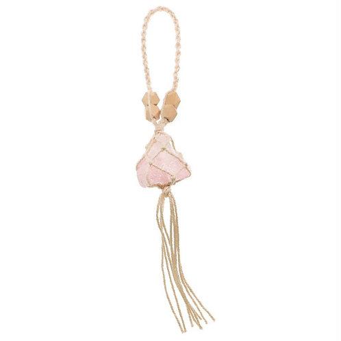 Macrame Hanging Rose Quartz Crystal