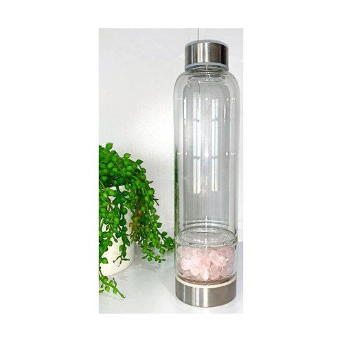 Rose Quartz Crystal Stainless Steel Water Bottle