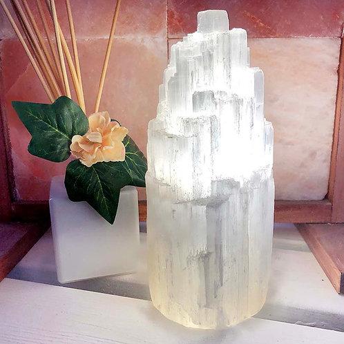 Selenite Tower Lamp 20cm