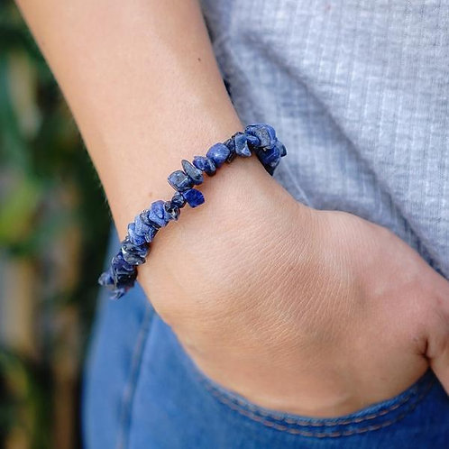Crystal Chip Bracelet - Lapis Lazuli