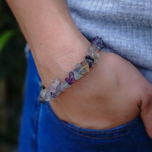 Crystal Chip Bracelet - Fluorite