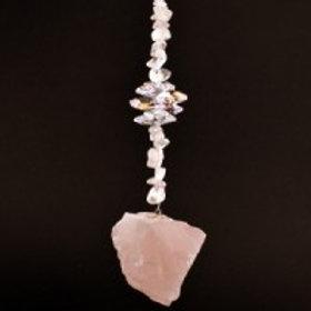 Natural Stone Sun Catcher - Rose Quartz