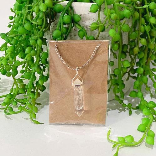 Sterling Silver Clear Quartz Pendant Necklace