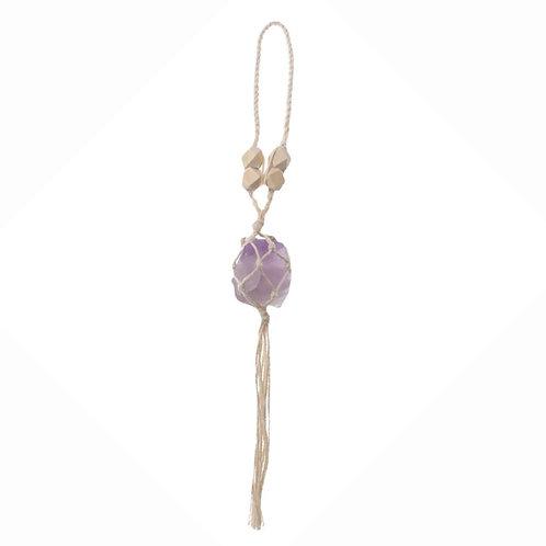 Macrame Hanging Amethyst Crystal