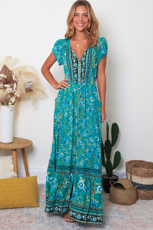 Lacey Cap Sleeves Maxi Dress