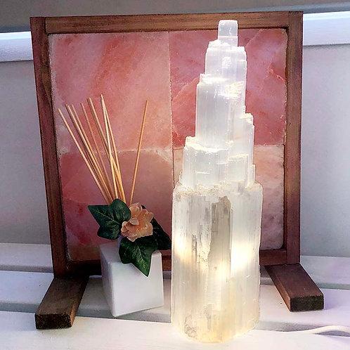 Selenite Tower Lamp 35cm to 40cm