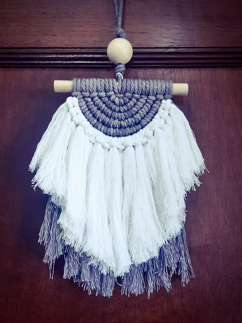 Macrame Grey And White Wall Hanging - small