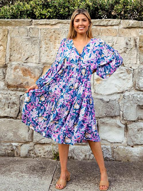Chloe 3/4 Sleeves Midi Dress