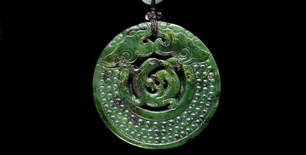 Double Dragon Taiwan Jade Medallion