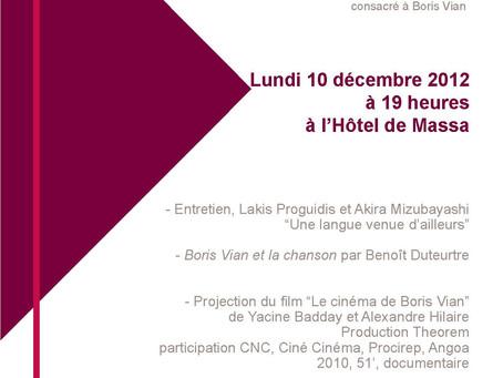 10 décembre 2012 : entretien avec Lakis Proguidis à la Société des Gens de Lettres (Hôtel de Massa)