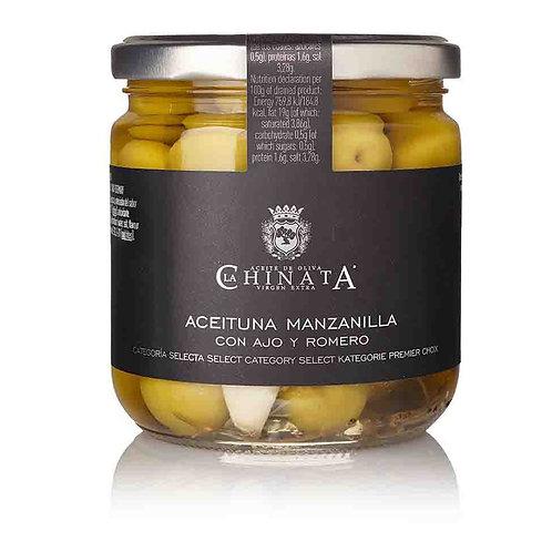 "Olives ""Manzanilla"" Ail & Romarin 350g - La Chinata"