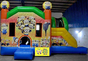 Minions side slide bouncy castle hire Perth cheap bouncy castles Swan Valley Castle Hire Ellenbrook bouncy castles