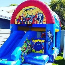 Superheroes mini slide combo bouncy castle hire perth cheap bouncy castle hire Swan Valley Castle hire Ellenbrook bouncy castles